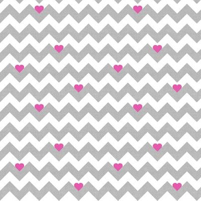 heart & chevron - grey/pink canvas - mini