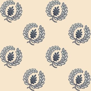 Regency Wreath Polka Dot ~ Navy on Alabaster