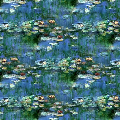 Claude Monet ~Water Lilies ~1916 ~ Small fabric by peacoquettedesigns on Spoonflower - custom fabric