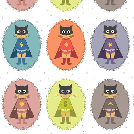 Super chats héros fabric by la_fabriken on Spoonflower - custom fabric