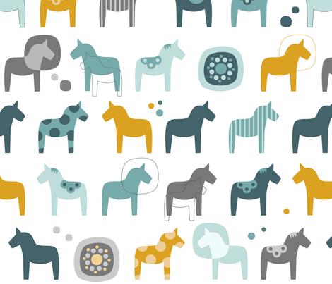 Dala Horse fabric by la_fabriken on Spoonflower - custom fabric