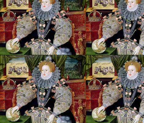 Elizabeth I - Armada Portrait (1588) fabric by studiofibonacci on Spoonflower - custom fabric