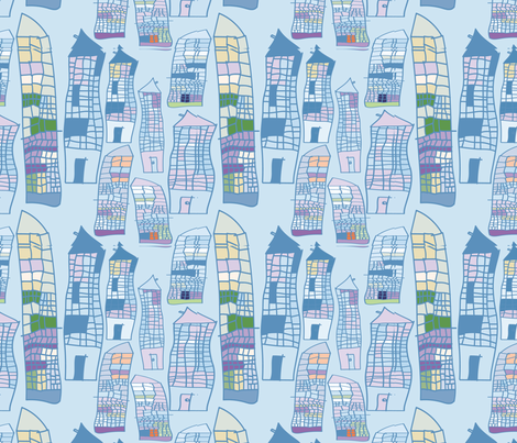 Skyscrapers blue fabric by tutorialgirl on Spoonflower - custom fabric