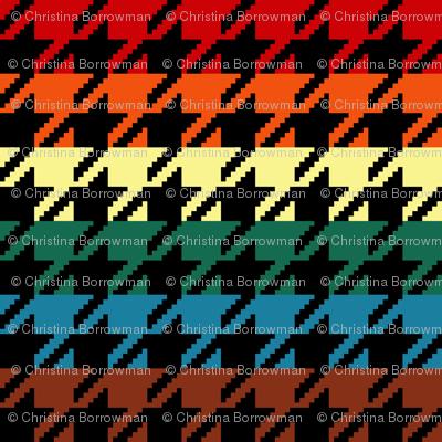 "Houndstooth - Chocolate Rainbow 1"" on Black"