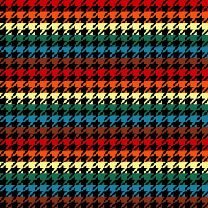"Houndstooth - Chocolate Rainbow 1"" on Black"