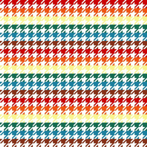 "Houndstooth - Chocolate Rainbow 1"" on White"