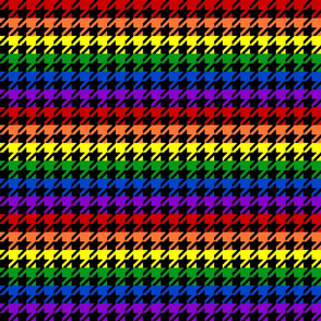 "Houndstooth - Rainbow 1"" on Black"
