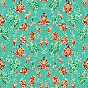 Pomegranate pattern on turquoise background