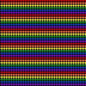 "Houndstooth - Rainbow 1/2"" on Black"
