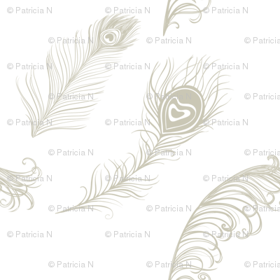 Gold Cream Peacock Feathers