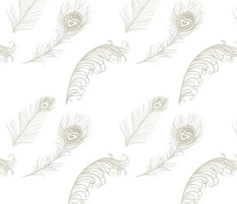 Gold Cream Peacock Feathers fabric by peacefuldreams on Spoonflower - custom fabric