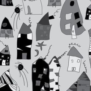 white black houses