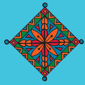 Turquoise Orange Flower Tile