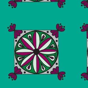 Teal Wine Mandala Tile
