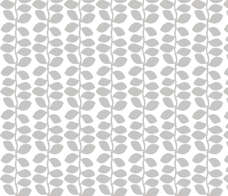 Forest - Silver Leaves on White fabric by joyfulrose on Spoonflower - custom fabric