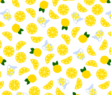 Freshly Squeezed Lemonade Tossed fabric by joyfulrose on Spoonflower - custom fabric