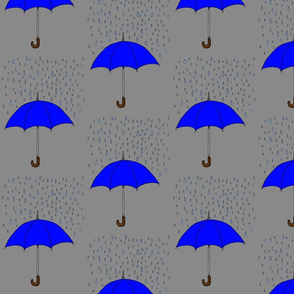 Umbrellas and Raindrops- Blue