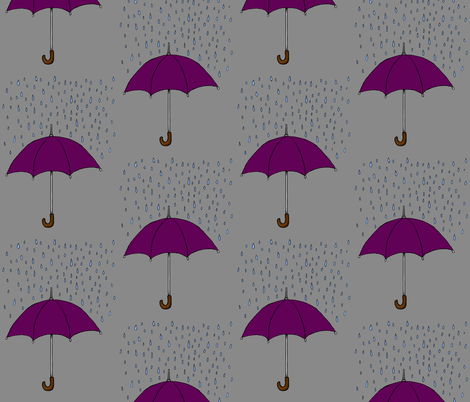 Umbrella and Raindrops- Purple fabric by essieofwho on Spoonflower - custom fabric