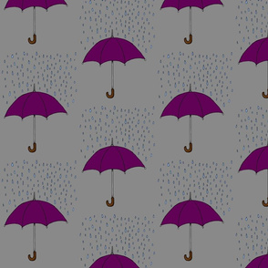 Umbrella and Raindrops- Purple