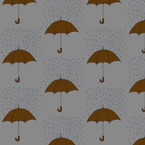 Umbrella and Raindrops- Brown