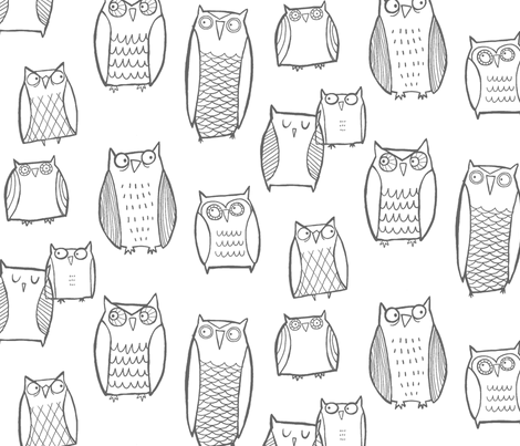 Night Owl White/Gray  fabric by leanne on Spoonflower - custom fabric