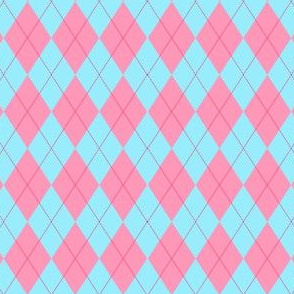 Coral and Aqua argyle