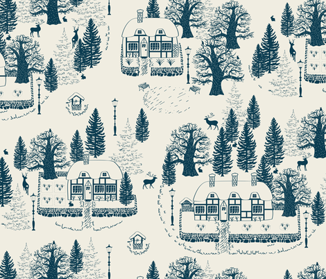 english winter village fabric by jill_o_connor on Spoonflower - custom fabric