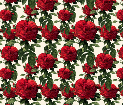 Redoute Riot of Roses ~True Blue Red Roses on Queen Anne's Lace ~ Shan's Big Day  fabric by peacoquettedesigns on Spoonflower - custom fabric