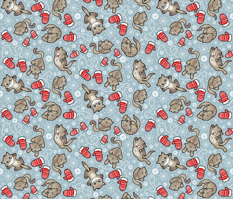 Kittens and Mittens fabric by woodmouse&bobbit on Spoonflower - custom fabric