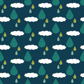 Cloudy WIth a Chance of Rain - Teal
