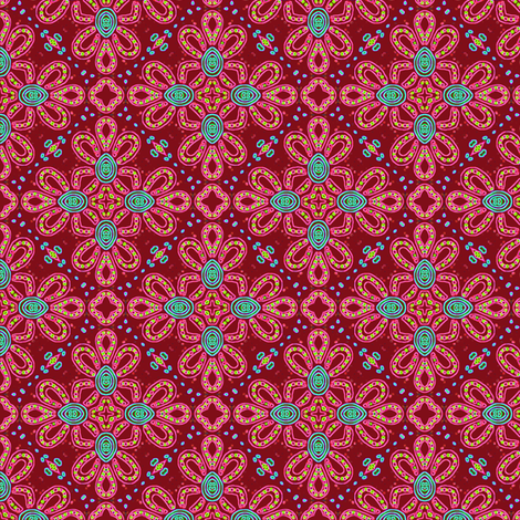 Tile Knot Revisited in Red fabric by siya on Spoonflower - custom fabric