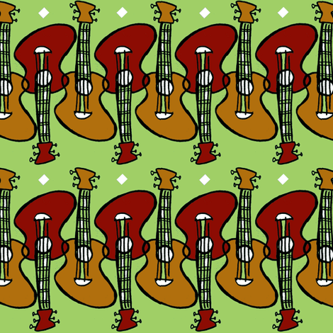 Guitar Greens fabric by frumiousfashion on Spoonflower - custom fabric