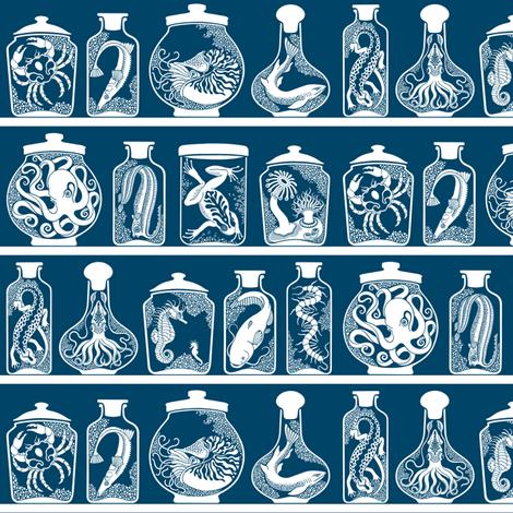 Wonders from a Cabinet of Curiosities (Blue Grey - 004466) fabric by sakurasnow on Spoonflower - custom fabric