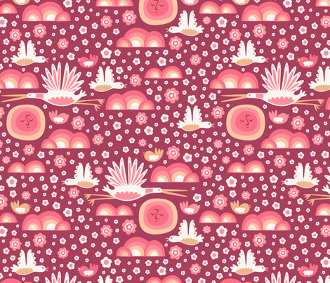 Bird Sky at Sunset fabric by studio_amelie on Spoonflower - custom fabric