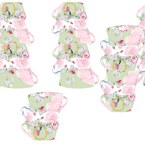 Pretty Teacups fabric by karenharveycox on Spoonflower - custom fabric