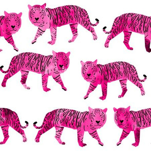 tigers // pink watercolor tigers cute animals watercolor girls pink white background fabric