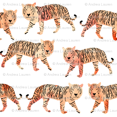 tigers // watercolor peach tigers animals watercolors painted animals