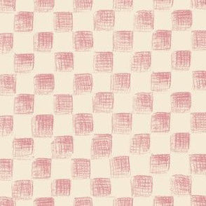 sketched checkerboard in cream and pink