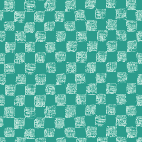 sketched checkerboard - white on jade fabric by weavingmajor on Spoonflower - custom fabric