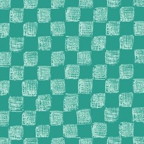 sketched checkerboard - white on jade