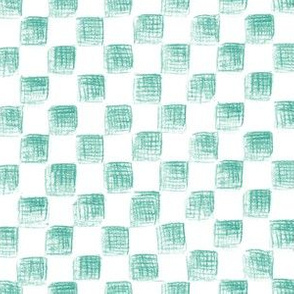 sketched checkerboard - jade on white