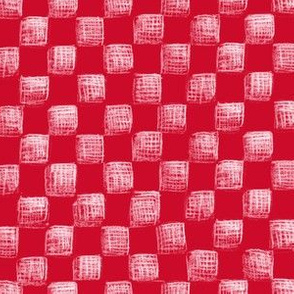Christmas red sketched checkerboard