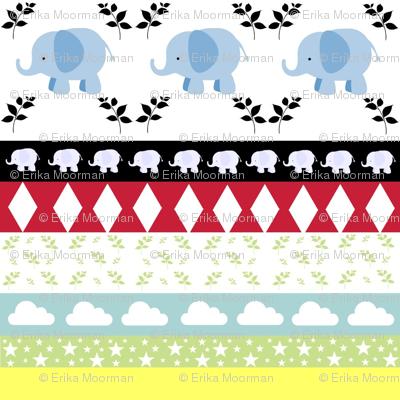 Blue Elephant YaYa diamond quilt
