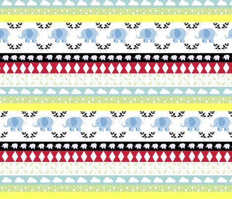 Blue Elephant YaYa diamond quilt fabric by drapestudio on Spoonflower - custom fabric