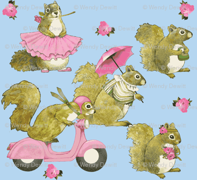 girly squirrels on  blue