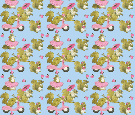 girly squirrels on  blue fabric by golders on Spoonflower - custom fabric