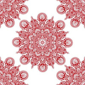 fortune mandala red #c2010e white ground
