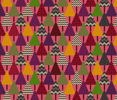pink forest geo trees fabric by scrummy on Spoonflower - custom fabric