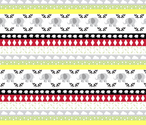 Gray Elephant YaYa diamond quilt fabric by drapestudio on Spoonflower - custom fabric