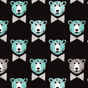 grizzly bear hipster with arrows and geometric triangle shapes